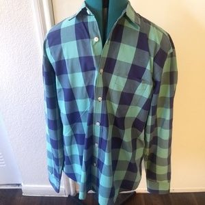 UNTUCKit Mens Plaid Green Blue Long Sleeve